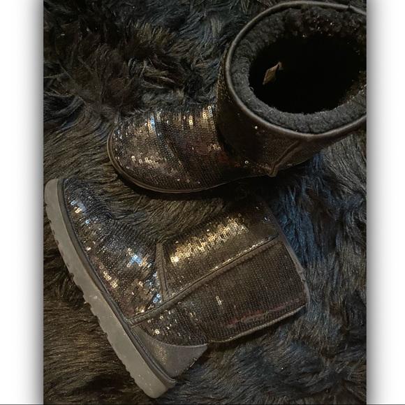 UGG Black Sequin Mid Calf Boots